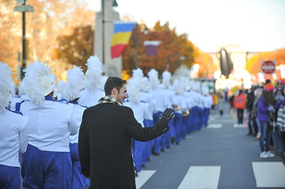 Associate Band Director Mr. Robert Krahn of the West Orange High School Marching Band waves to the crowd in the 98th Annual Thanksgiving Day Parade. 11/23/17 Credit Thomas Lightbody