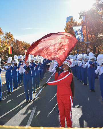 Junior Stephanie Jones performs with the West Orange High School Marching Band in the 98th Annual Thanksgiving Day Parade. 11/23/17 Credit Thomas Lightbody