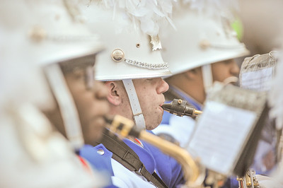 Junior Micah Bartlett performs with the West Orange High School Marching Band in the 98th Annual Thanksgiving Day Parade. 11/23/17 Photo Credit: Thomas Lightbody