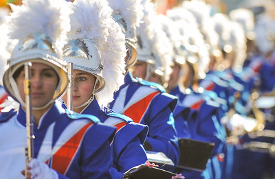 Members of the West Orange High School Marching Band, including Sebrina Yelvington perform in the 98th Annual Thanksgiving Day Parade. 11/23/17 Credit Thomas Lightbody