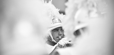 Senior Kenneth Ryan of the West Orange High School Marching Band performs in the 98th Annual Thanksgiving Day Parade. 11/23/17 Credit Thomas Lightbody