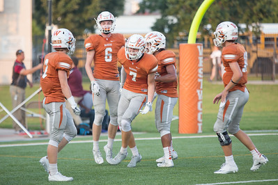 Westwood players celebrate after a touchdown against Rouse Friday at  Kelly Reeves Athletic Complex.