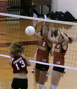 Part two of a successful block: Ball comes down on the correct side of the net.