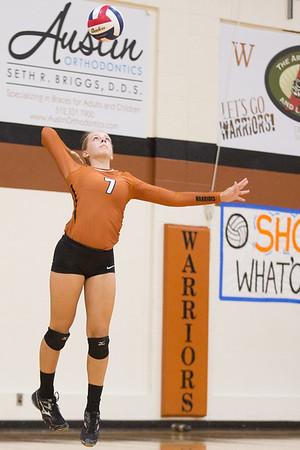 Westwood's Kimberly Sladek serves against Vandegrift Tuesday, Sept. 1, 2015 at Westwood High School. CHRISTINA SHAPIRO FOR ROUND ROCK LEADER