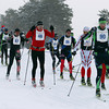 Record-Eagle/Keith King<br /> Racers take off from the starting line at Mancelona High School Saturday, February 2, 2013 during the 37th annual White Pine Stampede.