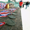 Record-Eagle/Keith King<br /> Medals lie on a table at Shanty Creek Resorts Saturday, February 2, 2013 prior to being given participants who complete the 37th annual White Pine Stampede.