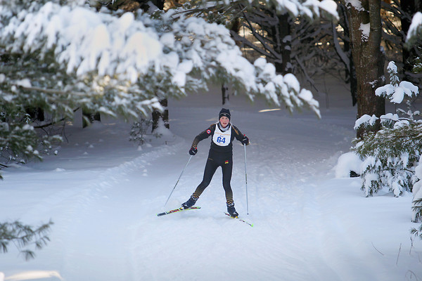 Record-Eagle/Keith King<br /> Kaitlyn Patterson, of Cadillac, races through the woods Saturday, February 2, 2013 during the 37th annual White Pine Stampede. Patterson finished second in the women's White Pine Stampede 40K.