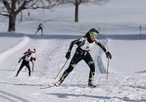 Record-Eagle/Keith King<br /> Amy Powell, of Lake Ann, finishes first at Shanty Creek Resorts Saturday, February 2, 2013 in the women's White Pine Stampede 40K.