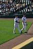 Closer Bobby Jenks walks back to the bullpen with relief pitcher Matt Thorton