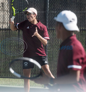 Whitehouse High School's Ashton Aguilar and LJ Almazon compete in a doubles match against Tyler High School on Tuesday, Oct. 20, 2020.