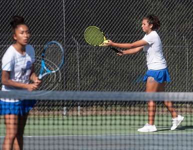 Tyler High School's Joanna Landeros and Raquel Gaona compete in a doubles tennis match against Whitehouse High School on Tuesday, Oct. 20, 2020.