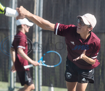 Whitehouse High School's Ashton Aguilar competes in a doubles match against Tyler High School on Tuesday, Oct. 20, 2020.