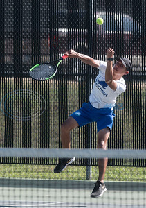 Tyler High School's David Gamez serves the ball in his doubles tennis match against Whitehouse High School on Tuesday, Oct. 20, 2020.