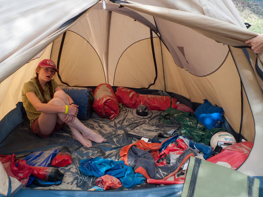 Marilyn: this tent looks like an Egyptian ruin. A night of dusty wind.