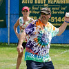Larry Britt, of Gardner, delivers a pitch during the Wifflin' For Wishes tournament at McLaughlin Field in Leominster on Saturday morning.  Proceeds from the event are to be donated to the Make-A-Wish Foundation. SENTINEL & ENTERPRISE / Ashley Green