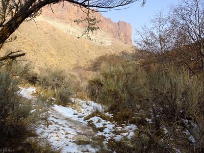 Canyon walls and trail.