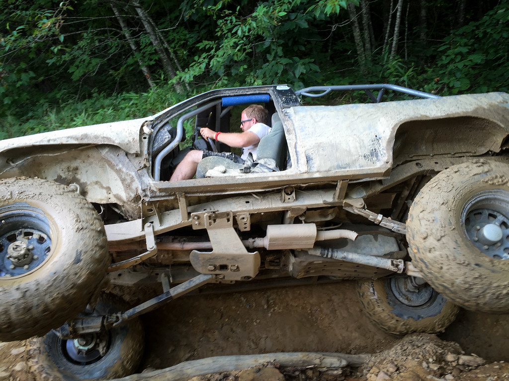 Brannon catching air inside the steep rut.