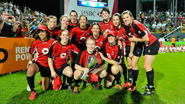 Dubai, UAE. Canada's IRB Women's Sevens Challenge Cup winners after beating England in the final at the Emirates Airline Dubai Rugby Sevens held at '7he Sevens'. December 03, 2011. Photo by: Stephen Hindley/SPORTDXB