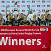 New Zealand Womens celebrate after winning the Cup with a score of 19-17 over Australia in the World Rugby Women's Sevens Series III  at the Emirates Airline Dubai Rugby Sevens in Dubai, UAE, Friday, Dec. 5th, 2014. Photo by: Stephen Hindley/Sportdxb/Photosport