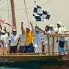 Winners of the Sir Bu Naair dhow race.  The race runs from Sir Bu Naair island to Mina Seyahi, a distance of 80kms.