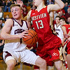 CHAD WEAVER | THE GOSHEN NEWS<br /> Westview's Elijah Gum-Hales defends Reeve Zolman of Central Noble during the second half of Friday night's 2A basketball sectional at Westview.