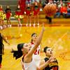 SAM HOUSEHOLDER | THE GOSHEN NEWS<br /> Goshen junior Tahya Bruce shoots a lay up during the game against Elkhart Memorial Friday.