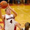 SAM HOUSEHOLDER | THE GOSHEN NEWS<br /> Goshen junior Cam Kline goes up for a basket during the game against Elkhart Memorial Friday. Goshen lost 42-37.