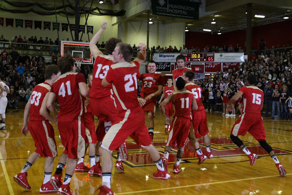 CHAD WEAVER | THE GOSHEN NEWS<br /> The Westview team celebrates on the court after defeating Lewis Cass in Saturday's 2A semi-state at Huntington North High School. Westview won 65-58.
