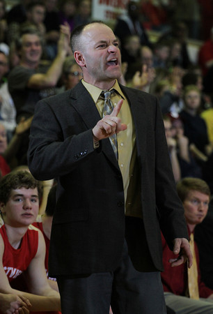 CHAD WEAVER | THE GOSHEN NEWS<br /> Westview head coach Rob Yoder yells instructions for his team during the 4th quarter of Saturday's 2A semi-state at Huntington North High School. Westview won 65-58.
