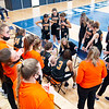 LaPorte Slicers head coach Sarah DeShone leads the team huddle during Friday's game at Fairfield Jr./Sr. High School in Benton.