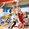 West Noble Chargers senior sophomore Mackensy Mabie (12) goes up for a basket during Tuesday's game at West Noble High School in Ligonier.