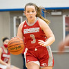 Goshen RedHawks sophomore Sarah Harmelink (3) dribbles the ball down court during Tuesday's game at West Noble High School in Ligonier.