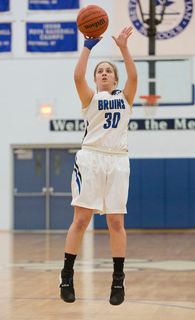 JAY YOUNG | THE GOSHEN NEWS<br /> Bethany Christian sophomore Anya Kauffman finds herself all alone as she puts up a long range shot during the Bruins' game against Concord on Tuesday night at Bethany.