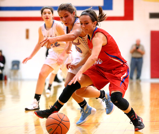 JAY YOUNG   THE GOSHEN NEWS<br /> Lakeland junior Karley Alleshouse, left, reaches over West Noble sophomore Lauren Burns to attempt to steal the ball away during their sectional game Tuesday night in Ligonier.