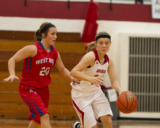 SAM HOUSEHOLDER   THE GOSHEN NEWS<br /> Goshen sophomore Aylissa Trosper drives past West Noble senior Shawna Young during the game Tuesday.