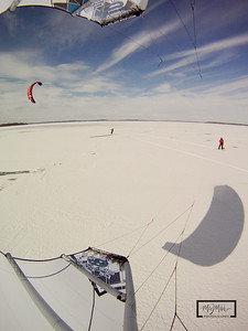 Snowkiting on Lake Mendota on 2.6.10  GoPro HD Hero Camera mounted to strut on Kite and set to take pics every 2 seconds.  © Copyright m2 Photography - Michael J. Mikkelson 2010. All Rights Reserved. Images can not be used without permission.