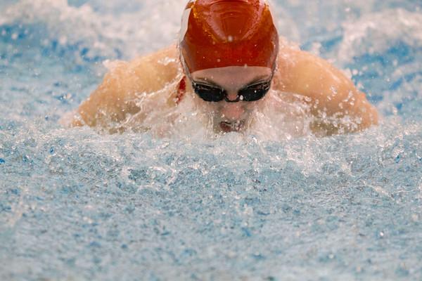 SAM HOUSEHOLDER   THE GOSHEN NEWS<br /> Goshen senior Natalie Evans swims the 100 yard butterfly preliminaries Thursday during the NLC preliminaries meet.
