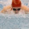 SAM HOUSEHOLDER | THE GOSHEN NEWS<br /> Goshen senior Natalie Evans swims the 100 yard butterfly preliminaries Thursday during the NLC preliminaries meet.