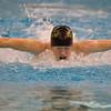 SAM HOUSEHOLDER | THE GOSHEN NEWS<br /> Northridge freshman Melissa Bailey swims the 100 yard butterfly during the NLC swimming preliminaries Thursday at Northrdige High School.