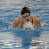 MICHAEL CATERINA | THE GOSHEN NEWS<br /> Northridge High School's August Hartzell competes in the 100-yard breaststroke during the girls NLC prelims Thursday at Concord High School.