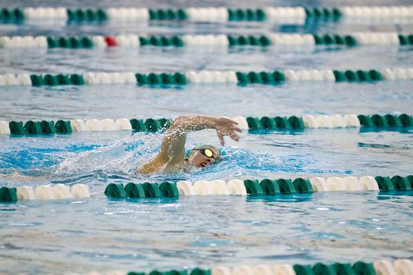 SAM HOUSEHOLDER | THE GOSHEN NEWS<br /> Concord swimmer Jordan Weaver swims the 500 yard freestyle during the meet Thursday.