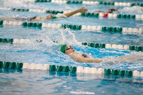 SAM HOUSEHOLDER   THE GOSHEN NEWS<br /> Concord swimmer Maddisen Lantz swims during the 100 yard backstroke during the meet against Mishawaka Thursday.