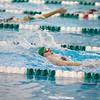 SAM HOUSEHOLDER | THE GOSHEN NEWS<br /> Concord swimmer Maddisen Lantz swims during the 100 yard backstroke during the meet against Mishawaka Thursday.