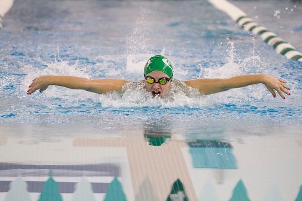 SAM HOUSEHOLDER | THE GOSHEN NEWS<br /> Concord swimmer Jordan Weaver swims the 100 yard butterfly Thursday during the meet against Penn.