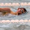 SAM HOUSEHOLDER | THE GOSHEN NEWS<br /> Goshen swimmer Daniel Sailor swims during the 500 yard freestyle event Tuesday against Northridge.