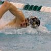 SAM HOUSEHOLDER | THE GOSHEN NEWS<br /> Northridge junior Jesse Drake swims during the boys 200 yard freestyle relay event Tuesday during a meet against Goshen.