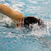 SAM HOUSEHOLDER | THE GOSHEN NEWS<br /> Wawasee sophomore Kayla Herschberger swims the 100 yard freestyle Thursday during the NLC Preliminaries at Concord High School.