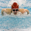 SAM HOUSEHOLDER | THE GOSHEN NEWS<br /> Goshen junior Natalie Evans swims during the 100 yard butterfly Thursday during the NLC Preliminaries at Concord High School.