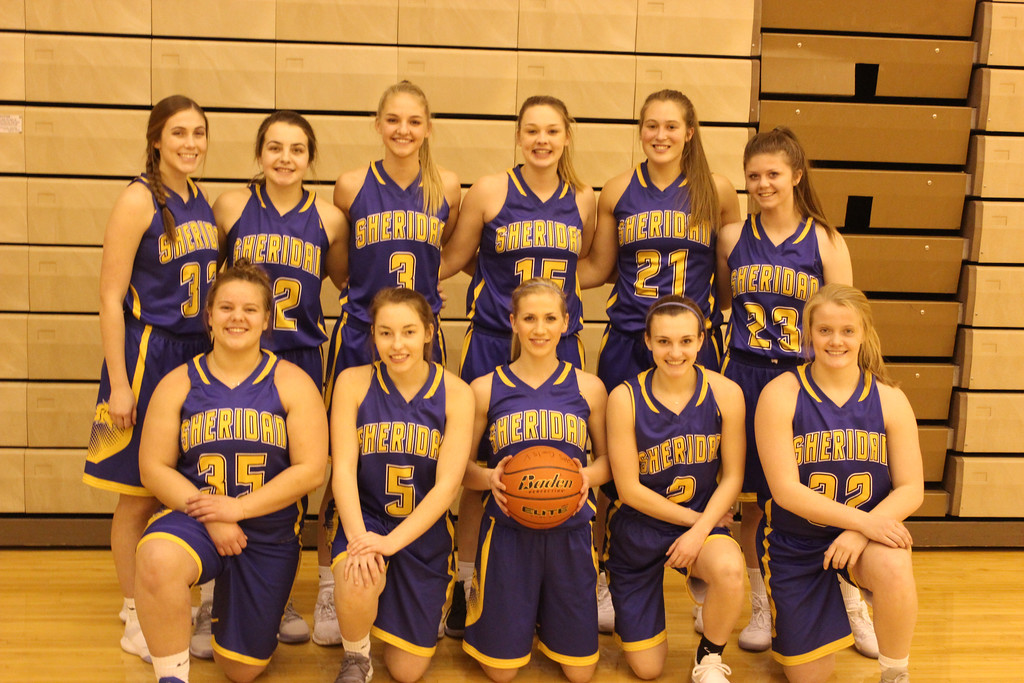 Ryan Patterson | The Sheridan Press<br /> The Sheridan High School girls basketball team includes, back row, from left, Bailey Coon, Mollie Morris, Katie Ligocki, Kailee Ingalls, Jordan Christensen, and Emily Kilpatrick. Front row, from left, are Zoie Jones, Alli Puuri, Kaylee Abernatha, Riley Rafferty and Katie Tomlinson.
