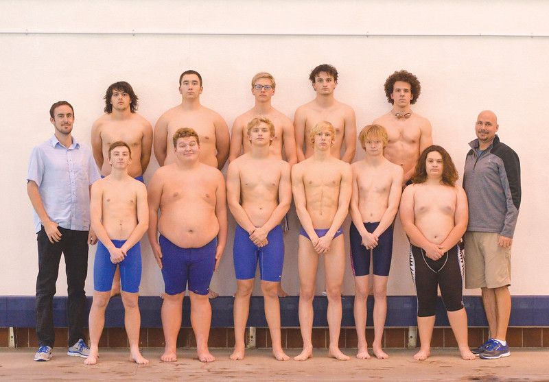 Justin Sheely | The Sheridan Press	<br /> The 2017-2018 Sheridan High School boys swim team, back row, from left: Walkara Robinson, Matthew Thompson, Sam Sampson, Kody Palmer and Noah Hodges. Front row, from left: Coach Adam Martin, Emmett Potter, Kaleb Yager, Caleb Johnannesmeyer, Oscar Patten, Thomas Yates, Cisco Gallegos and head coach Brent Moore.